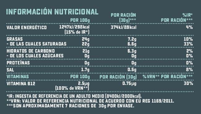 Valores nutricionales calorias mozzarella rallada violife vegano