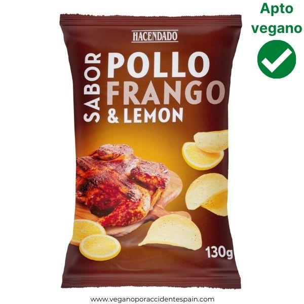 Patatas chips sabor pollo al limon Mercadona veganas