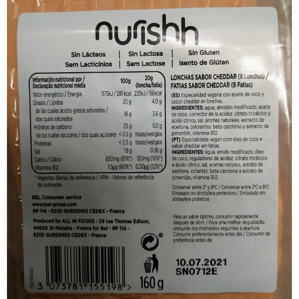 Queso cheddar vegano Nurishh ingredientes y calorias