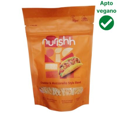 Mix cheddar y mozzarella vegana rallada Nurishh